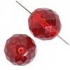 Fire polished Beads 18mm Transparent siam Ruby